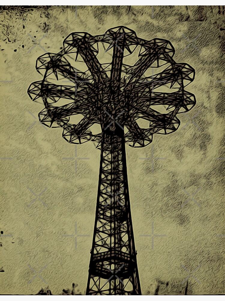 Coney Island Lovers - Bare Bones Parachute Art Photo - Brooklyn Gift by OneDayArt