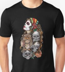 Girl with skulls and owl T-Shirt