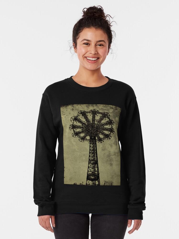 Alternate view of Coney Island Lovers - Bare Bones Parachute Art Photo - Brooklyn Gift Pullover Sweatshirt