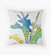Tropical Spring Leaves Throw Pillow