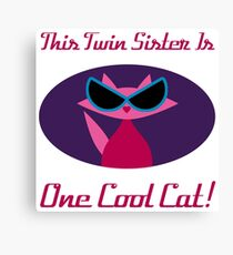 Twin Sister Cool Cat Canvas Print