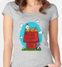 Duck Hunt\Snoopy Women's Fitted Scoop T-Shirt
