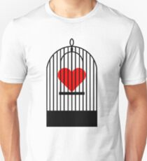 "Cage Heart or ""Coronary Canary"" (Black) Slim Fit T-Shirt"