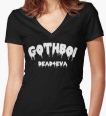 Gothboi Goth Dark Streetwear Tumblr Design Women's Fitted V-Neck T-Shirt