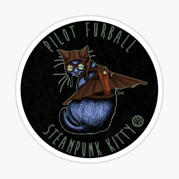Pilot Furball: Steampunk Kitty Sticker