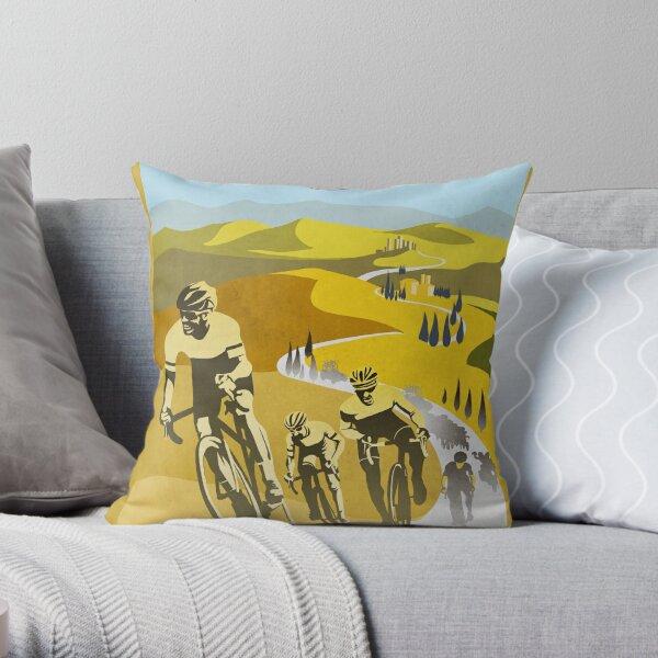 Strade Bianche Retro Cycling Art Throw Pillow