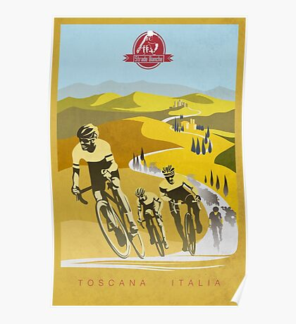 Strade Bianche Retro Cycling Art Poster