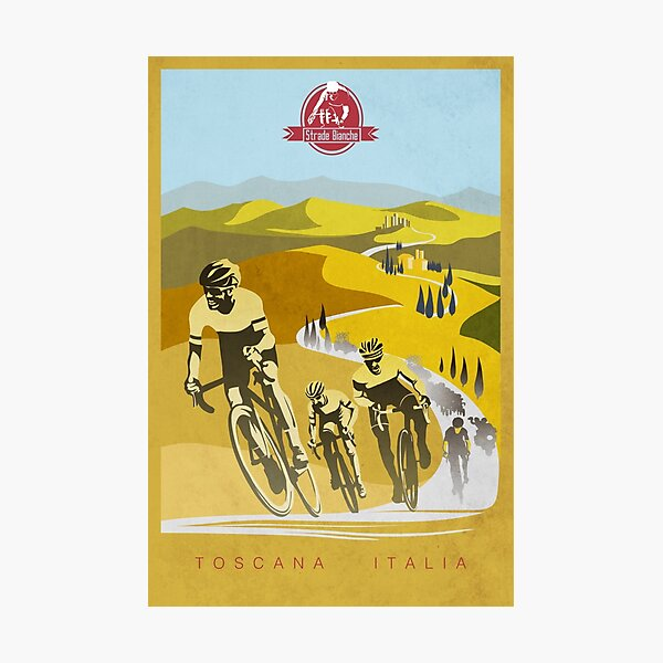 Strade Bianche Retro Cycling Art Photographic Print