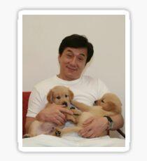 Jackie Chan with Puppies Sticker