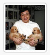 Jackie Chan mit Welpen ii Sticker