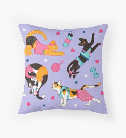 Yoga Cats Throw Pillow