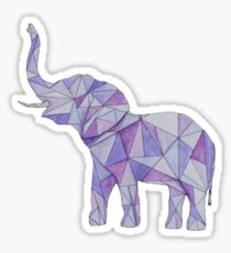 Purple Geometric Elephant  Sticker