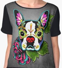 Boston Terrier in Black - Day of the Dead Sugar Skull Dog Chiffon Top
