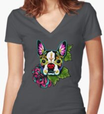 Boston Terrier in Black - Day of the Dead Sugar Skull Dog Women's Fitted V-Neck T-Shirt