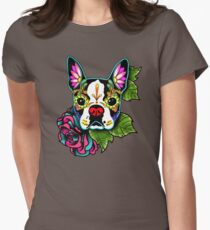 Boston Terrier in Black - Day of the Dead Sugar Skull Dog Women's Fitted T-Shirt