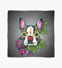 Boston Terrier in Black - Day of the Dead Sugar Skull Dog Scarf