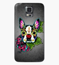 Boston Terrier in Black - Day of the Dead Sugar Skull Dog Case/Skin for Samsung Galaxy