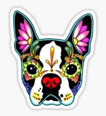 Boston Terrier in Black - Day of the Dead Sugar Skull Dog Sticker