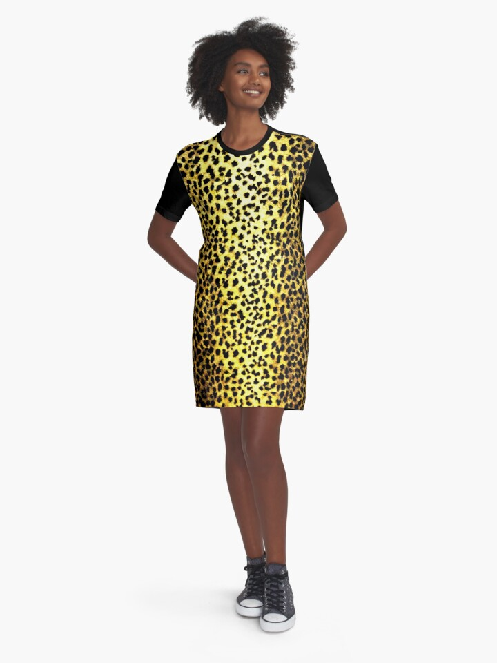 'Leopard Wallpaper Animal Print' Graphic T-Shirt Dress by yonni