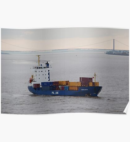 Container ship Humber Bridge Poster