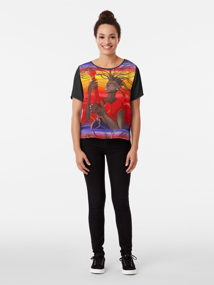 Alternate view of Electric Guitar Player Chiffon Top