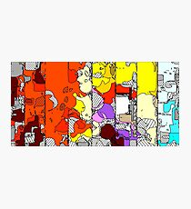 geometric drawing and painting abstract in orange red yellow purple brown and blue Photographic Print