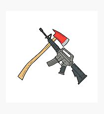 Crossed Fire Ax and M4 Carbine Rifle Drawing Photographic Print