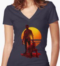 Logan Sunset Women's Fitted V-Neck T-Shirt