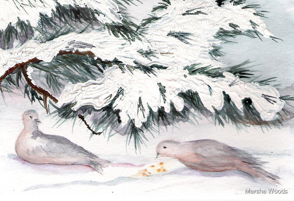 Mourning Doves in Winter by Marsha Woods