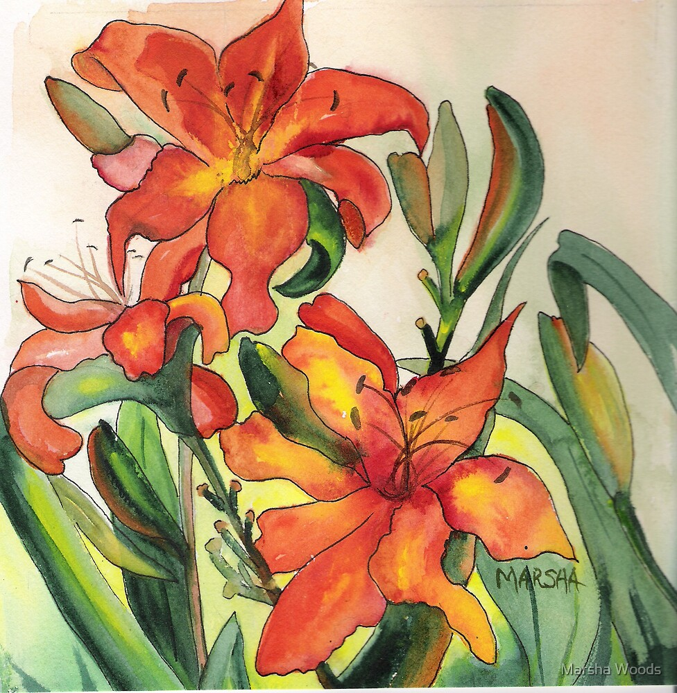 Orange Lilies by Marsha Woods