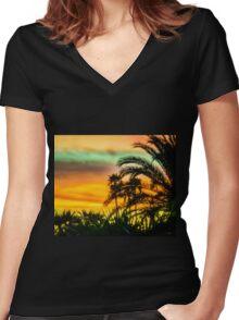Desert Palm Tree Sunset Silhouette Women's Fitted V-Neck T-Shirt