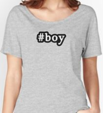 Boy - Hashtag - Black & White Women's Relaxed Fit T-Shirt
