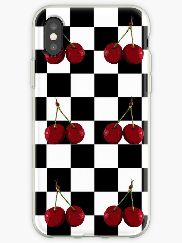 huge selection of 374a6 eb239 'CHECKERED FLAG CHERRIES PATTERN' iPhone Case by Tammera