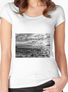 Magnolia Pier #2 B&W Women's Fitted Scoop T-Shirt