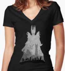 Sauron & The Fellowship Women's Fitted V-Neck T-Shirt