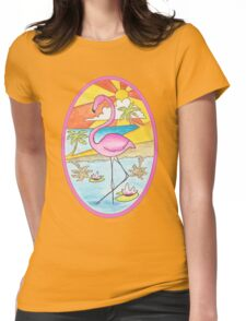 Sunset Flamingo Womens Fitted T-Shirt