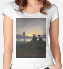 Caspar David Friedrich - Moonrise Over The Sea Women's Fitted Scoop T-Shirt