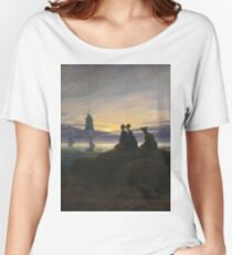 Caspar David Friedrich - Moonrise Over The Sea Women's Relaxed Fit T-Shirt