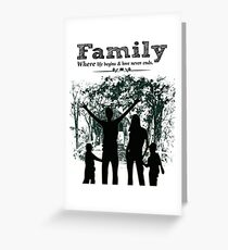 Family where life begins & love never ends Greeting Card