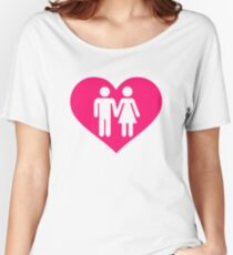 Couple pink heart Women's Relaxed Fit T-Shirt