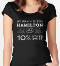 Camiseta entallada de cuello redondo My Brain is 90% Hamilton Camiseta vintage de Hamilton Broadway Musical - Aaron Burr Alexander Hamilton Gift