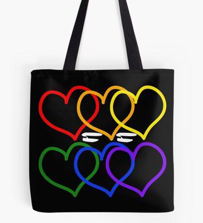 Liebe = Liebe Rainbow Hearts Tote Bag