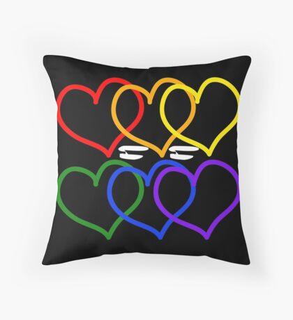 Liebe = Liebe Rainbow Hearts Dekokissen
