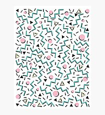 Back to the 80's eighties, funky memphis pattern design Photographic Print