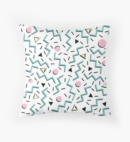 Back to the 80's eighties, funky memphis pattern design Throw Pillow