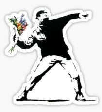 Banksy - Throwing Flowers Sticker