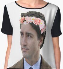 Justin Trudeau Flower Crown 2 Women's Chiffon Top