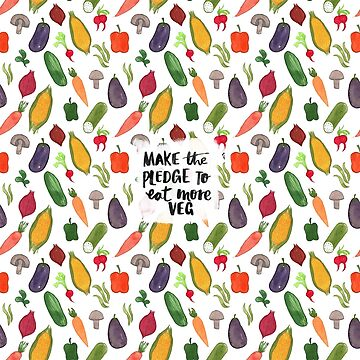 Make The Pledge To Eat More Veg! Illustrated Pattern by Laura Tubb by lauratubb