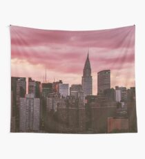 New York City Sunset Cityscape Wall Tapestry