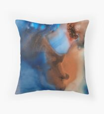 Ink blots copper and red Throw Pillow